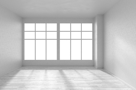 parquet floor: Empty room with white hardwood parquet floor, big window and walls with white textured wallpaper and sunlight from window, perspective view, 3d illustration Stock Photo