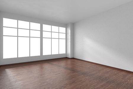 Lege ruimte met donkere hardhouten parketvloer, grote ramen en muren met witte geweven behang en zonlicht vanuit het venster, perspectief, 3d illustratie