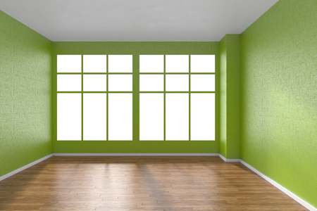 parquet floor: Empty room with hardwood parquet floor, big window and walls with green textured wallpaper and sunlight from window, perspective view, 3d illustration