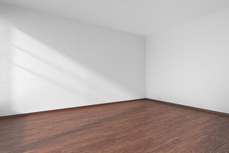 wooden floor: Empty room with dark hardwood parquet floor and walls with white textured wallpaper and sunlight from window, perspective view, 3d illustration Stock Photo