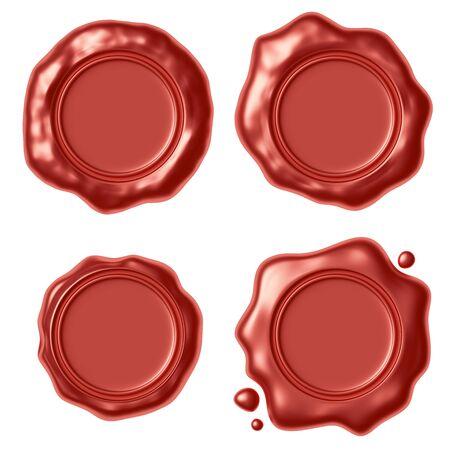 Set di tenuta sigillo di cera rossa timbro senza segno con piccole gocce isolato su sfondo bianco illustrazione 3D