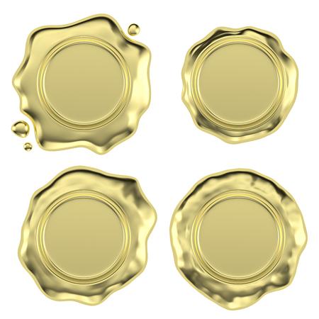 Set di tenuta d'oro sigillo di cera timbro senza segno con piccole gocce isolato su sfondo bianco illustrazione 3D