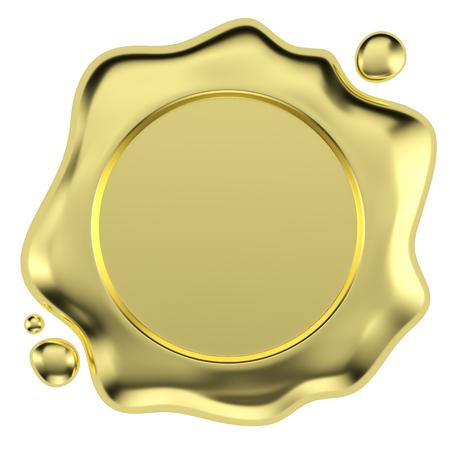 L'oro ceralacca bollo senza segno con piccole gocce isolato su sfondo bianco illustrazione 3D