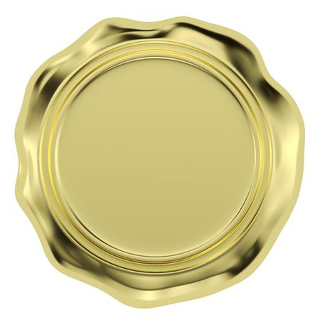 sigillatura oro timbro sigillo di cera senza segno isolato su sfondo bianco illustrazione 3D