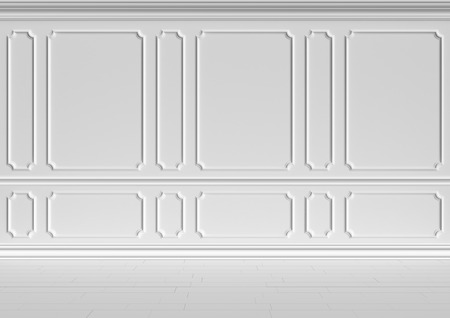 baseboard: Simple classic style non-color white interior illustration - white wall in classic style white empty room interior, colorless 3d illustration