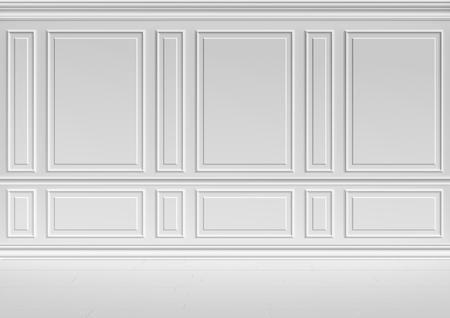 Simple classic style non-color white interior illustration - white wall in classic style white empty room interior, colorless 3d illustration