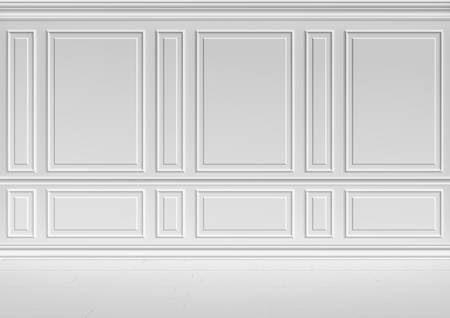Simple classic style non-color white interior illustration - white wall in classic style white empty room interior, colorless 3d illustration