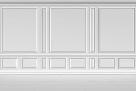 molding: Simple classic style non-color white interior illustration - white wall in classic style empty white room interior colorless 3d illustration.