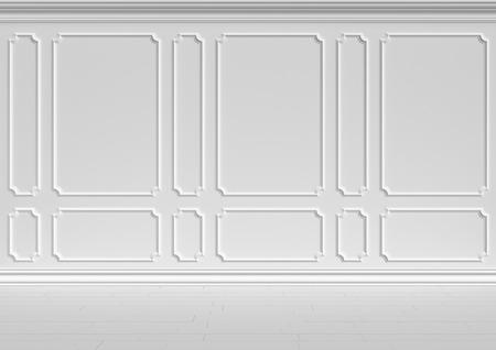 Simple classic style non-color white interior illustration - white wall of classic style white empty room interior, colorless 3d illustration.