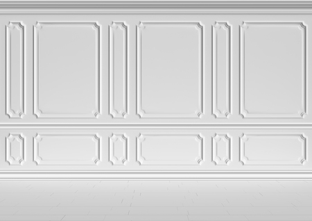 molding: Simple classic style non-color white interior illustration - white wall of classic style white empty room interior, colorless 3d-illustration