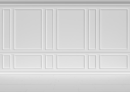 molding: Simple classic style non-color white interior illustration - white wall of classic style white empty room interior colorless 3d illustration Stock Photo