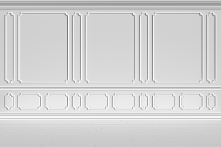 molding: Simple classic style non-color white interior illustration - white wall of classic style white empty room interior, colorless 3d illustration Stock Photo