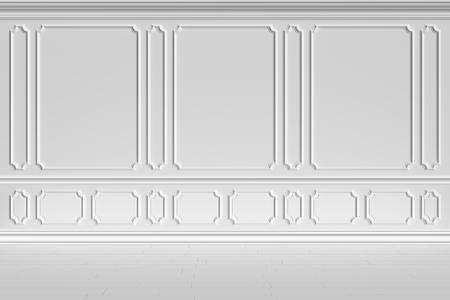 Simple classic style non-color white interior illustration - white wall of classic style white empty room interior, colorless 3d illustration Stock Photo