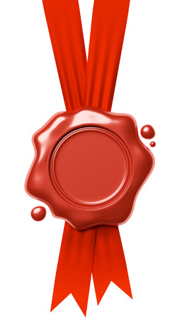 waxseal: Red sealing wax seal stamp without sign hang on red ribbons with small drops isolated on white background, 3d illustration Stock Photo