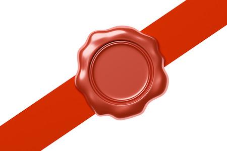 Red chiusura, sigillo di cera timbro senza segno sul nastro rosso diagonale isolato su sfondo bianco, illustrazione 3d