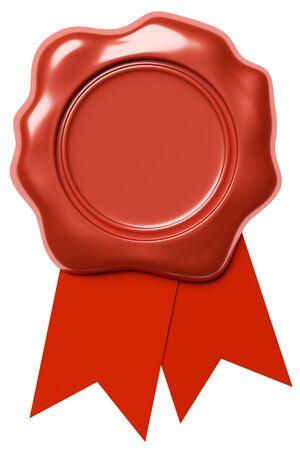 Red tenuta timbro sigillo di cera senza segno con il nastro rosso isolato su sfondo bianco, illustrazione 3d