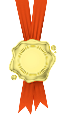 Gold sealing wax seal stamp without sign hang on red ribbons with small drops isolated on white background, 3d illustration Stock Photo