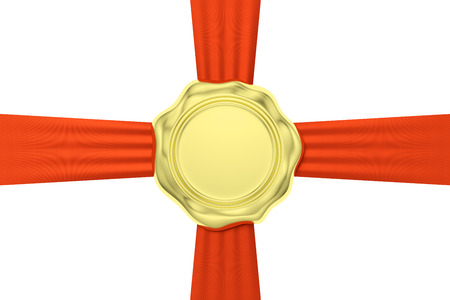 waxseal: Gold sealing wax seal stamp without sign on red ribbon cross isolated on white background, 3d illustration Stock Photo