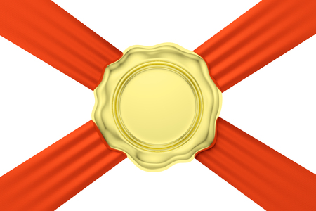 Gold sealing wax seal stamp without sign on red ribbon diagonal cross isolated on white background, 3d illustration