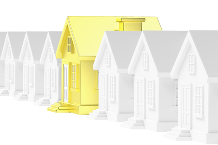 ordinary: Uniqueness, individuality, real estate business creative concept - gold unique house in row of gray ordinary houses standing out from crowd Stock Photo