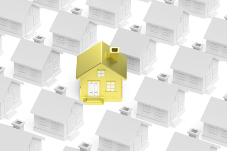uniqueness: Uniqueness, individuality, real estate business creative concept - golden unique house stand out from crowd of gray ordinary houses, 3d illustration
