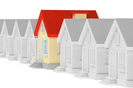 row houses: Uniqueness, individuality, real estate business creative concept - funny colorful unique house standing in row of gray ordinary houses, 3d illustration Stock Photo