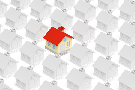 row of houses: Uniqueness, individuality, real estate business creative concept - funny colorful unique house in row of gray ordinary houses stand out from crowd and look at you, 3d illustration