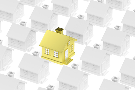 ordinary: Individuality, uniqueness, real estate business creative concept - golden unique house standing out from crowd of gray ordinary houses 3d illustration.