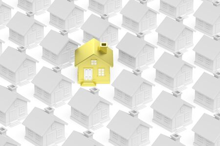 ordinary: Uniqueness, individuality, real estate business creative concept - golden unique house standing out from crowd of gray ordinary houses 3d illustration.