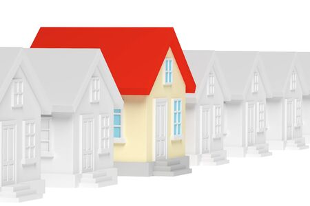 row of houses: Uniqueness, individuality, real estate business creative concept - funny colorful unique house in row of gray ordinary houses standing out from crowd, 3d illustration