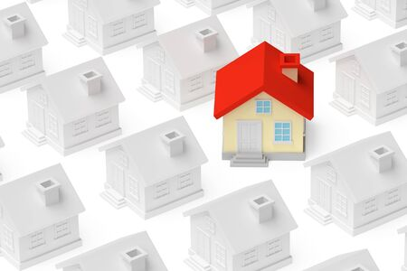uniqueness: Uniqueness, individuality, real estate business creative concept - funny colorful unique house stand out from crowd of gray ordinary houses 3d illustration. Stock Photo
