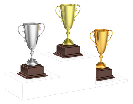 visionary: Sports winning and championship and competition success concept - golden, silver and bronze winners trophy cups isolated on the imaginary winners podium drawn by gray contour lines, 3d illustration, diagonal view