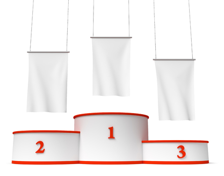 winning first: Sports winning and championship and competition success symbol - round sports pedestal, winners podium with empty red first, second and third places and blank white flags, 3d illustration, isolated. Stock Photo