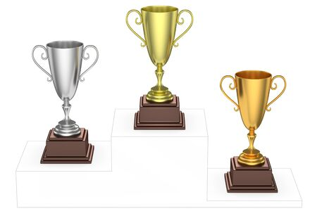 imaginary: Sports winning and championship and competition success concept - golden, silver and bronze winners trophy cups isolated on the imaginary winners podium drawn by gray contour lines, 3d illustration, top view