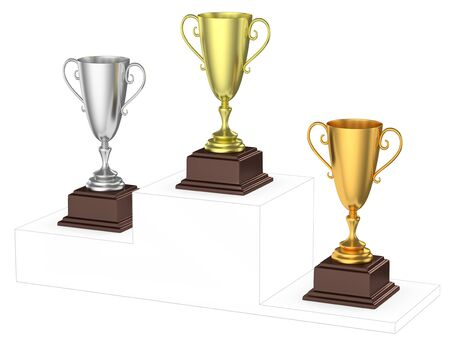 imaginary: Sports winning and championship and competition success concept - golden, silver and bronze winners trophy cups isolated on the imaginary winners podium drawn by gray contour lines 3d illustration diagonal view