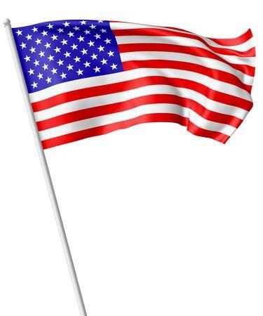 bandera nacional de los Estados Unidos de América con las barras y estrellas de volar asta de bandera y ondeando en el viento aislado en blanco, ilustración 3d