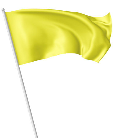 Yellow flag on flagpole flying and waving in the wind isolated on white, 3d illustration