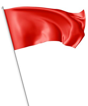 Drapeau rouge sur le mât de vol et ondulant dans le vent isolé sur blanc, illustration 3d