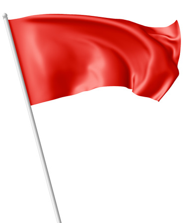 Red flag on flagpole flying and waving in the wind isolated on white, 3d illustration