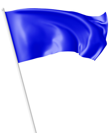 blueflag: Blue flag on flagpole flying and waving in the wind isolated on white, 3d illustration
