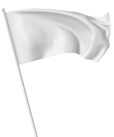 Witte vlag op vlaggestok vliegen en zwaaien in de wind geïsoleerd op wit, 3d illustratie