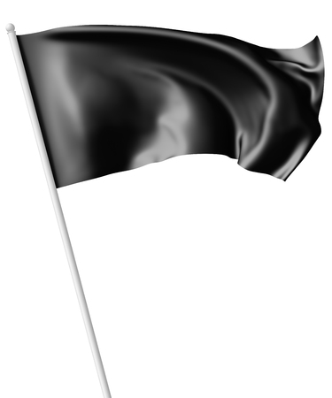 black flag: Black flag on flagpole flying and waving in the wind isolated on white, 3d illustration