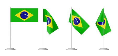 federative republic of brazil: Small table flag of Federative Republic of Brazil on stand isolated on white background,  3d illustrations set