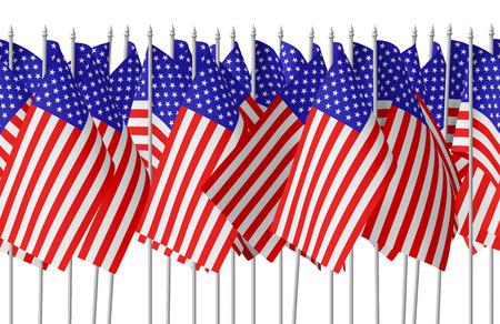 banderas america: Muchas pequeñas banderas de Estados Unidos con estrellas y rayas en fila aislados en el fondo blanco. 3d ilustración perfecta Foto de archivo