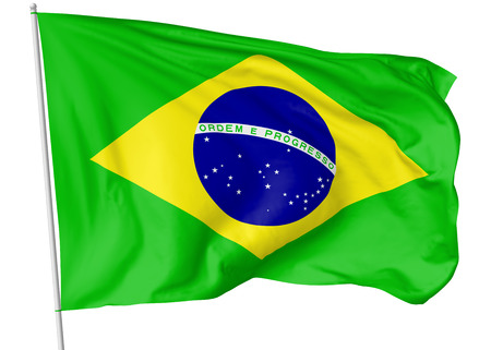 federative republic of brazil: National flag of Federative Republic of Brazil with flagpole flying and waving in the wind isolated on white, 3d illustration