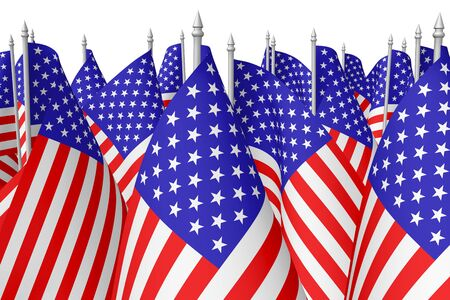 parade: Many small american flags with stars and stripes isolated on white background closeup.