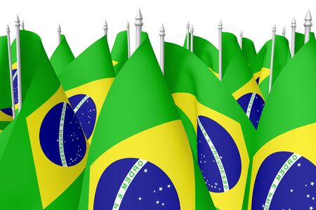 federative republic of brazil: Many small national flags of Federative Republic of Brazil with flagpole isolated on white background, 3d illustration