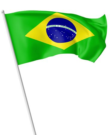 federative republic of brazil: National flag of Federative Republic of Brazil on flagpole flying and waving in the wind isolated on white, 3d illustration