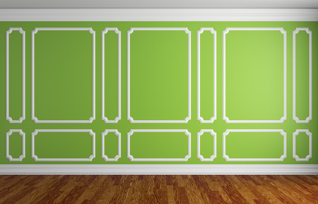 baseboard: Simple classic style interior illustration - green wall with white decorative frame on the wall in classic style empty room with dark wooden parquet floor with white baseboard, 3d illustration interior