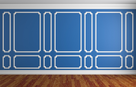 baseboard: Simple classic style interior illustration - blue wall with white decorative frame on the wall in classic style empty room with dark wooden parquet floor with white baseboard, 3d illustration interior